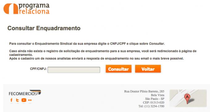 Clique sobre a imagem para acessar o formulário de consulta da Fecomércio